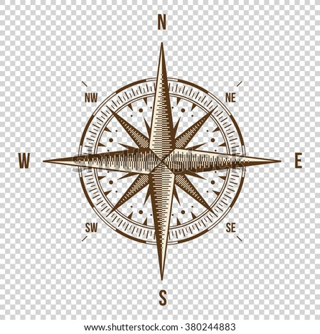 Vector Compass. High Quality Illustration. Old Style. West, East, North, South. Wind Rose Simple Style Isolated - stock vector