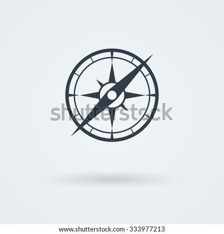 Vector compass icon. Logo. Pictogram. Button. - stock vector