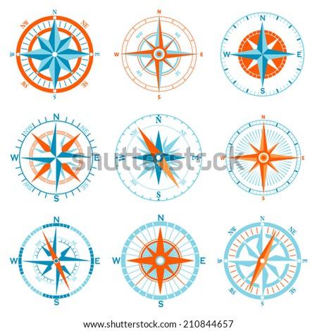 Vector compass icon set - stock vector