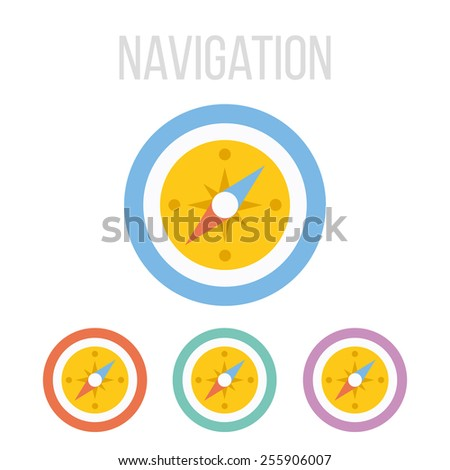 Vector compass icons set. Isolated on white background. - stock vector