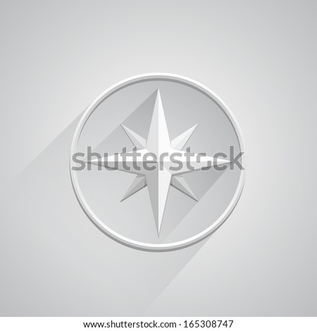 Vector compass on white white background - stock vector