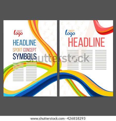 Vector composition of a wave of bands with different colors are intertwined including sport symbols. Concept brochure, web sites, page, leaflet, signs and text separately. - stock vector