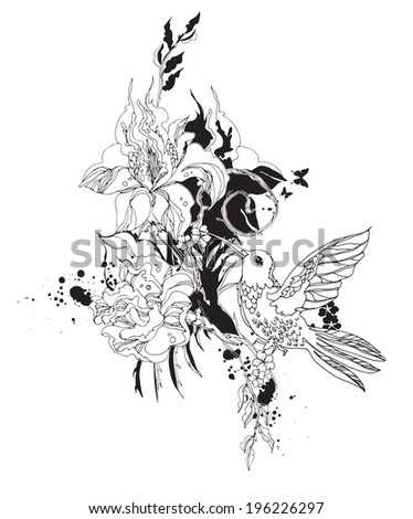 Vector composition with colibri and flowers black and white - stock vector