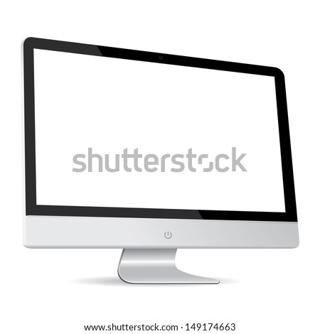 vector computer display side isolated on white background - stock vector