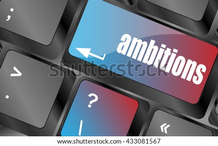 Vector computer keyboard with ambition button - business concept, keyboard keys, keyboard button, keyboard icon - stock vector
