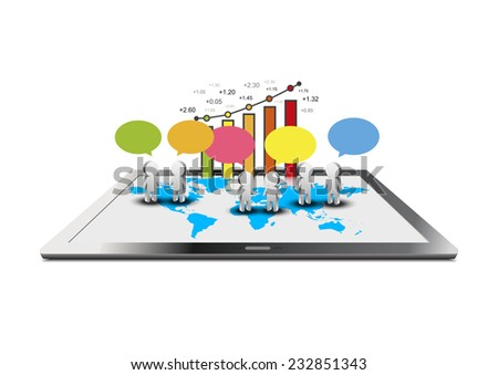 vector computer tablet, business commerce graph, social network concept - stock vector