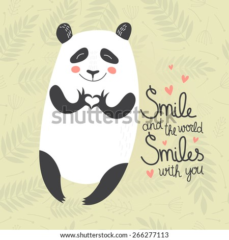 Vector Concept card with cute smiling panda on floral background. - stock vector