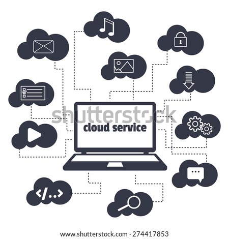 Vector concept. Cloud service. Open the laptop and various icons in the clouds around. - stock vector