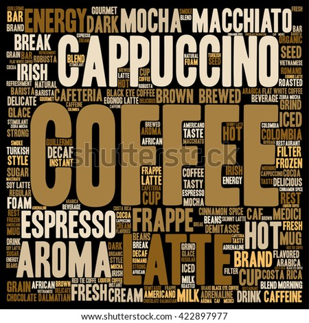 Vector concept conceptual creative hot coffee, cappuccino or espresso square word cloud isolated on background, metaphor to morning, restaurant, italian, beverage, cafeteria, break, energy or taste - stock vector
