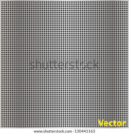 Vector concept conceptual gray metal stainless steel aluminum perforated pattern texture mesh background as metaphor to industrial,abstract,technology,grid,silver,grate,spot,grille surface - stock vector