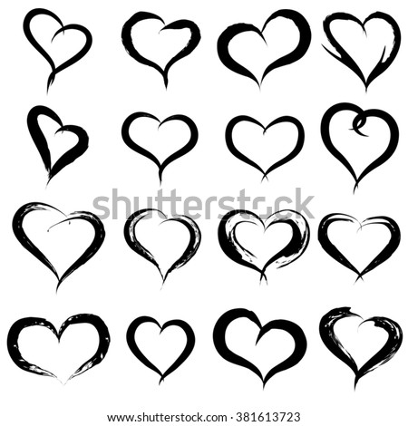 Vector concept conceptual painted black heart shape love symbol set or collection, made by a happy child at school isolated on white background metaphor to valentine, romantic, education, art feeling - stock vector