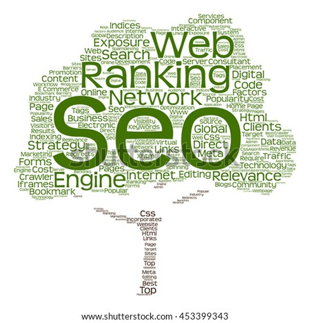 Vector concept conceptual search engine optimization, seo abstract tree  word cloud isolated on background metaphor to marketing, web, internet, strategy, online, rank, result,  network, top relevance - stock vector