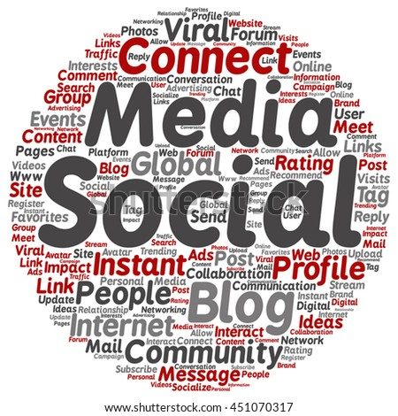 Vector concept conceptual social media marketing, communication abstract round word cloud isolated on background metaphor to networking, community, technology, advertising, global, worldwide tagcloud - stock vector