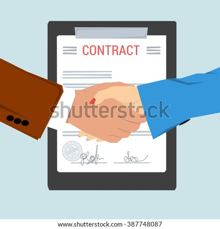 Vector concept contract, agreement. Man and woman shaking hands on background of signed document with seal. Flat style. Web infographic - stock vector