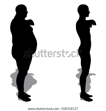 Vector concept 3D fat overweight vs slim fit diet with muscles young man silhouette isolated on white background for weight loss, body, fitness, fatness, obesity, health, healthy, male, dieting, shape - stock vector