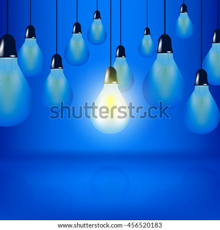 VECTOR: Concept design multiple Light bulbs hanging with cords, one bulb is glowing on blue background - stock vector
