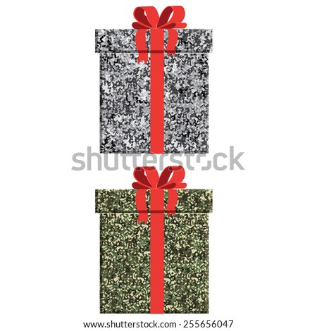 Vector concept design package gift box in camouflage colors - stock vector