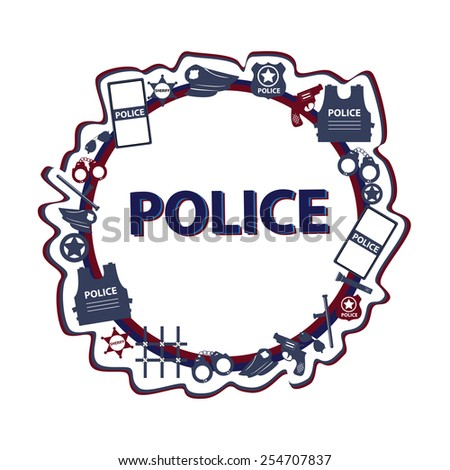 Vector concept design police symbols in round form with dark colors - stock vector