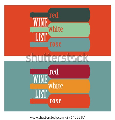 vector concept design wine list with text on bottle in different contrast colors - stock vector