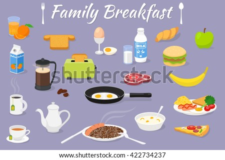 Vector concept family breakfast - illustration with fresh food and drinks. Vector icons set.  - stock vector