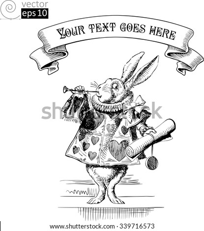vector concept for invitation card or poster with Rabbit from Alice in Wonderland and vintage banner - stock vector