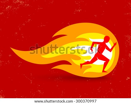 Vector concept for running with man and fire - stock vector