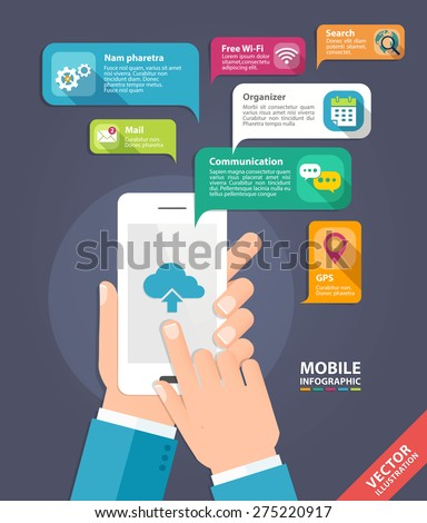 Vector concept for smartphone device. Infographics mobile phone data. Flat style - stock vector