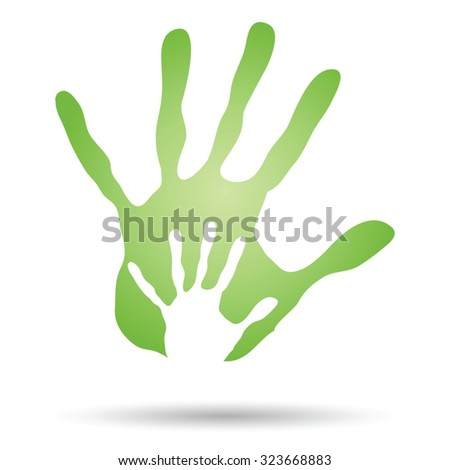 Vector concept human or mother and child hand prints painted on white background for art, care, childhood, family, fun, happy, infant, symbol, kid, little, love, mom, motherhood, young design - stock vector