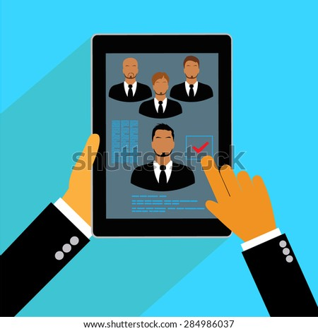 Vector, concept, human, resources, management, resume, flat, tablet - stock vector