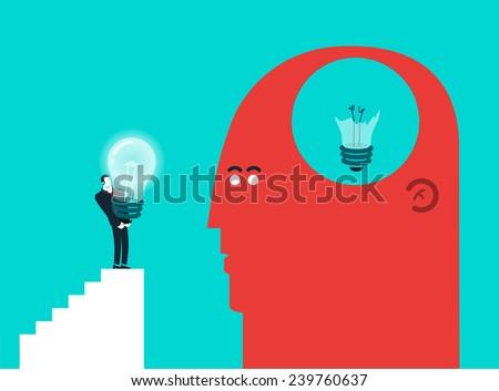 Vector concept illustration of broken light bulb and gift - Modern colors. Creative Bussiness illustration. Eps 10 - stock vector