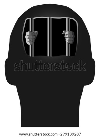 Vector Concept Illustration of Prisoner in Our Own Mind, Eps 8 Vector - stock vector