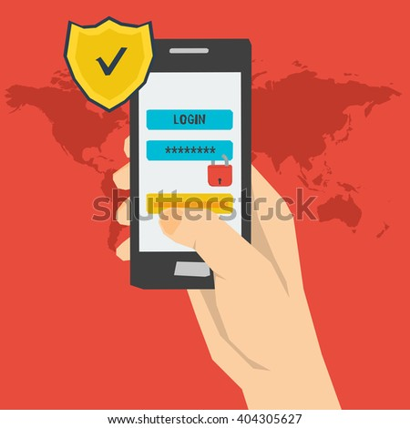 Vector concept mobile payment using login and password  identification. Modern concept for web banners of safe using a smartphone and mobile account in flat style - stock vector