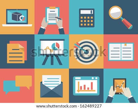 Vector concept of analysis and market research. Flat style design - vector illustration - stock vector