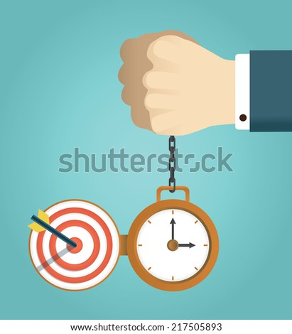 Vector concept of deadline and successfully completed work. Hand holding watch. Time management, start up and result - vector illustration - stock vector