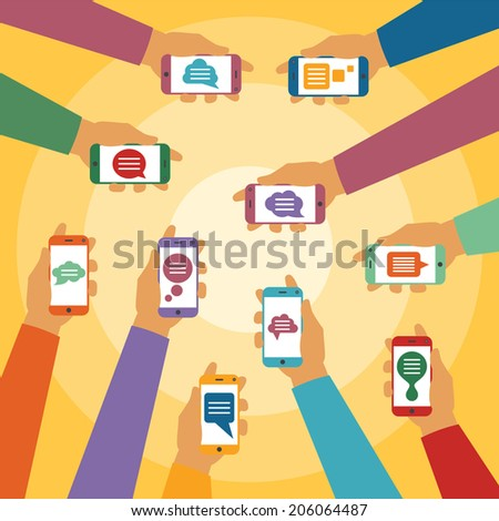 Vector concept of mobile instant message chat with hands smartphones and popup dialog boxes - stock vector