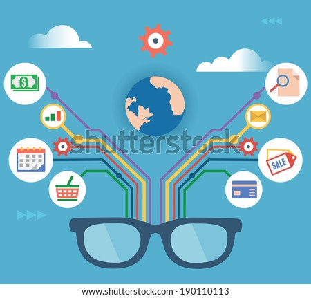 Vector concept of modern technology and management business - vector illustration - stock vector