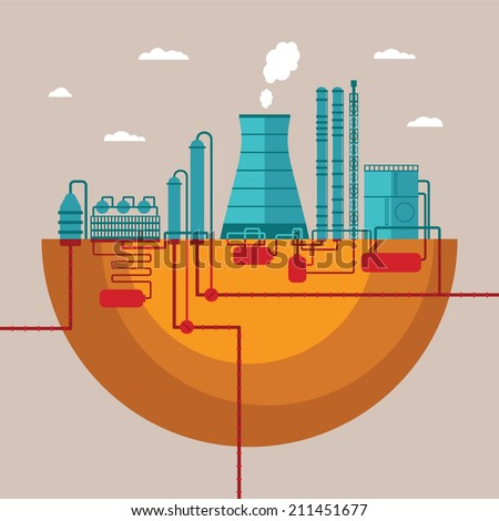 Vector concept of refinery plant for processing natural resources or manufacturing products factory with distribution pipes network - stock vector