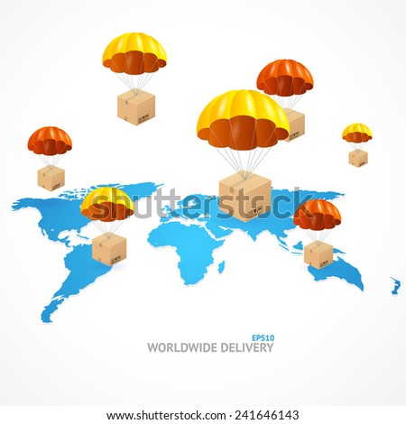Vector concept of shipping around the world. Global shipment - stock vector