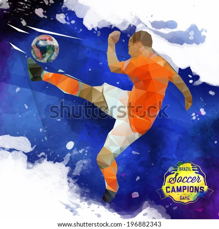 Vector concept of soccer player with watercolor background and geometric figures combination of blue and white colors.  Creative football design with labels for you. Label separate from background. - stock vector