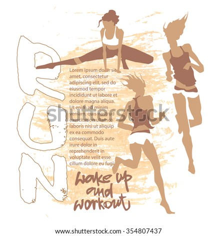 Vector concept of sport motivation poster. Sport inscriptions. Run motivation. Good for sport editions, fitness club, magazines and websites. Isolated objects on white background - stock vector