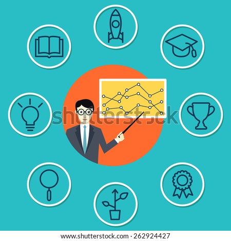 Vector concept of training with components - vector illustration - stock vector