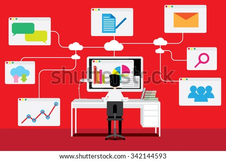 Vector concept of wireless cloud network and distributed computing. - stock vector