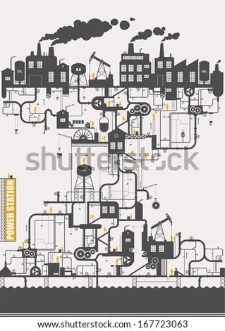 Vector concept - oil factory - stock vector