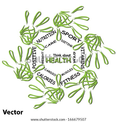 Vector concept or conceptual abstract circle health word cloud of green leaf child hand prints isolated on white background,metaphor to medical,diet,sport,shape,silhouette,food,lifestyle or medicine - stock vector