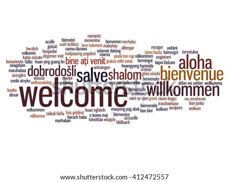 Vector concept or conceptual abstract welcome or greeting international word cloud in different languages or multilingual, metaphor to world, foreign, worldwide, travel, translate, vacation or tourism - stock vector