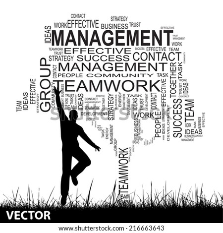 Vector concept or conceptual black text word cloud isolated on grass, a man jumping, white background, metaphor for business, team, teamwork, management, effective, success, company, group or symbol - stock vector