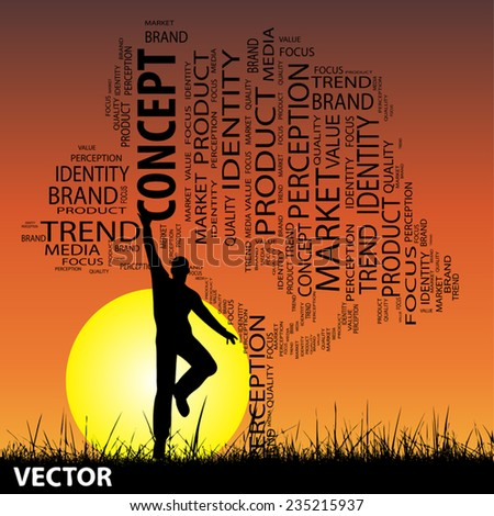 Vector concept or conceptual black tree and grass word cloud, a man jumping on sunset with sun, for communication, message, mail, relation, dialog, talk, report, contact, email, internet wordcloud - stock vector