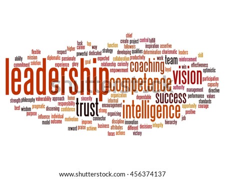 Vector concept or conceptual business leadership, management value word cloud isolated on background metaphor to strategy, success, achievement, responsibility, authority, intelligence or competence - stock vector