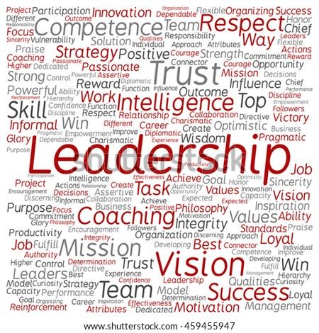 Vector concept or conceptual business leadership or management square word cloud isolated on background - stock vector