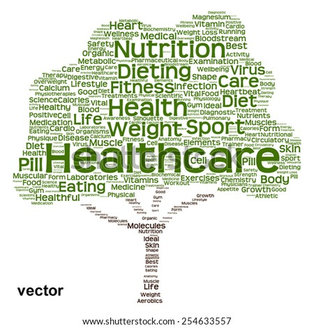 Vector concept or conceptual green text word cloud or tagcloud tree isolated on white background, metaphor to health, nutrition, diet, healthy, wellness, body, energy, medical, sport, heart or science - stock vector